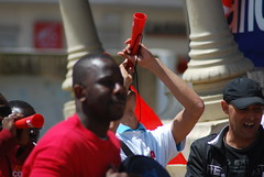 Protesters at The Cannes Film Festival 2010 18 May (jamiejohndavies) Tags: red france crimson rouge brightred darkred cannesfilmfestival bloodred ferrarired cannes2010 filmfestival2010 cannesfilmfestival2010