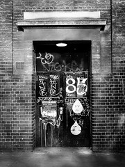 Brick Lane Morning #6 (louisberk.com) Tags: door bw white black london monochrome