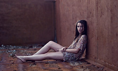 (Brian Storey | www.pleaseflash.me) Tags: light sunset building abandoned girl canon dark trapped sad dismal natural dusk brian 85mm dreary container storey 18 leggy annoyed t1i bspixelscom pleaseflashme