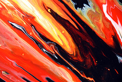 Black & Orange Painting (markchadwickart) Tags: orange white black color colour art water yellow painting flow fire movement energy paint artist acrylic mark vibrant fine paintings vivid fluid oil flowing colourful chadwick