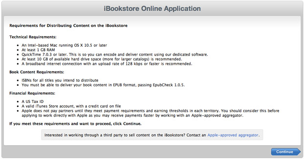 iBook publisher requirement