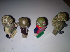 the custom painted helmets ( !! ) Tags: green usmc cat dark bag soldier army us marine gun lego military wwii tan suit weapon sniper ww2 stealth a3 guns vest minifig a4 bomb medic a2 weapons m16 brickarms brickforge bandoiler acc