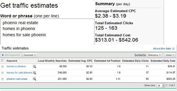 screen shot of traffic estimates tool