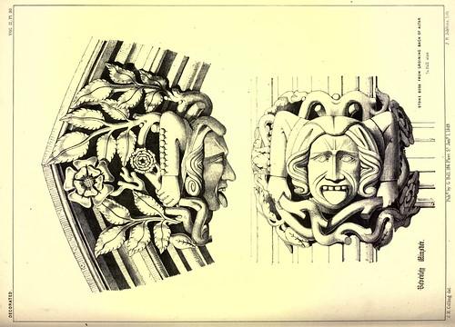 018- piedras maestras de la parte posterior de la bóveda del altar- Iglesia del Monasterio Beverley-Gothic ornaments.. 1848-50-)- Kellaway Colling