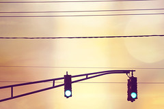 ~ keep going. (CarolynsHope) Tags: light sky lines yellow trafficlight go peach wires greenlight encourage motivational dontstop keepgoing nevergiveup encouraging