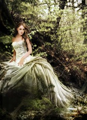 Renaissance (MC BAILY) Tags: trees wedding woman fern beautiful leaves lady fairytale digital forest spring model dress princess spirit fantasy adobe romantic fx magical renaissance captivating dryadd