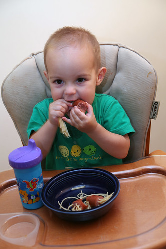 Isaac enjoying some spaghetti monsters