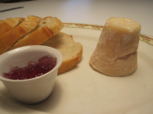 Monsieur Émile cheese, bread, wine jam