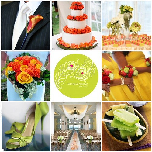 Coral, Chartreuse and Lemon Yellow wedding color palette
