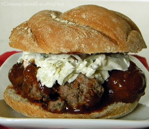 Barbecue Meatball Sandwiches with Onions and Cole Slaw