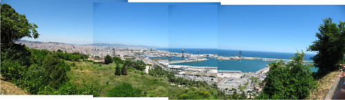 view from montjouic towards the sea