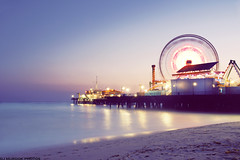 Spinning! (dj murdok photos) Tags: ocean longexposure sunset summer motion beach colors vintage fun lights sand pacific dusk santamonica empty sony retro spinning ferriswheel alpha tones goldenhour goldcoast