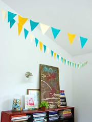 Birthday bunting (hownowdesign) Tags: birthday blue party white art yellow blog craft flags oldschool birthdayparty celebration birthdays crafty bunting artsandcrafts pennants kidsbirthday abbeyhendrickson childrensbirthday aestheticoutburst hownowdesign