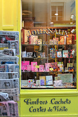 Journaux (nina's clicks) Tags: travel paris france shop canon newspapers storefront shopwindow cartes journaux presse timbres