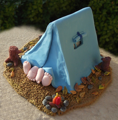 Hot camping miniature scene - custom wedding cake topper - Fall version