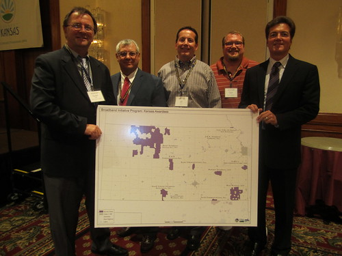 David Villano (far right) Asst. Administrator, USDA Utilities Programs,  is pictured with representatives of three Kansas Recovery Act Broadband Awardees including SC Telcom, Nex-Tech and Madison Telephone as well as the Vice Chair of the Governor's Broadband Advisory Board.