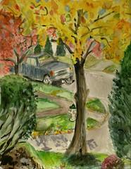From Our Front Door (Marcia Milner-Brage) Tags: autumn watercolor landscape urbanlandscape cedarfallsiowa