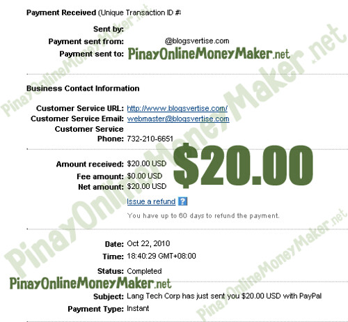 Blogsvertise Payment Proof - $20.00 on October 22, 2010 - PinayOnlineMoneyMaker.net