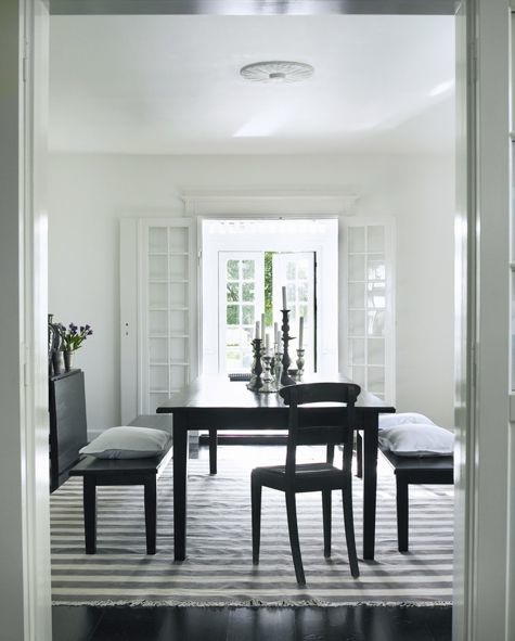 modern dining room table with benches