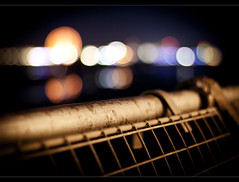 Lost in bokeh, Blackpool pier + The final fence - RIP in comments, Explored! + FrontPage! (Ianmoran1970) Tags: blue black night canon fence death 50mm lights dof bokeh f14 illuminations final tribute gt friday frontpage hurdle hff explored ianmoran ianmoran1970