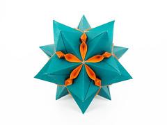 Zephyranthes (masha_losk) Tags: kusudama кусудама origamiwork origamiart foliage origami paper paperfolding modularorigami unitorigami модульноеоригами оригами бумага folded symmetry design handmade art