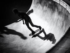 This Way and That (Feldore) Tags: venice beach skateboarders shadow park man shapes skateboard california american feldore mchugh em1 olympus 1240mm high contrast