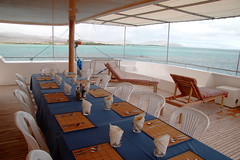 Seaman II - just off Floreana Island (Roubicek) Tags: vacation holiday table ecuador honeymoon galapagos floreana deck dining equador seaman galapagosislands postofficebay floreanaisland seaman2 seamanii