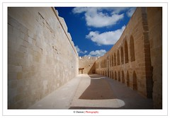 The Pathway (Damon | Photography) Tags: africa trip travel blue sea summer sky holiday building castle beach alex alexandria photoshop landscape ancient nikon outdoor citadel creative egypt corridor suit shore editing 1855mm nikkor polarizer seashore damon 2009 pathway circular hoya 52mm the clp minial qaitbay d40 nikond40