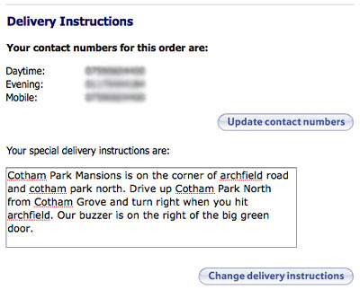 Tesco allow you to enter basic delivery instructions