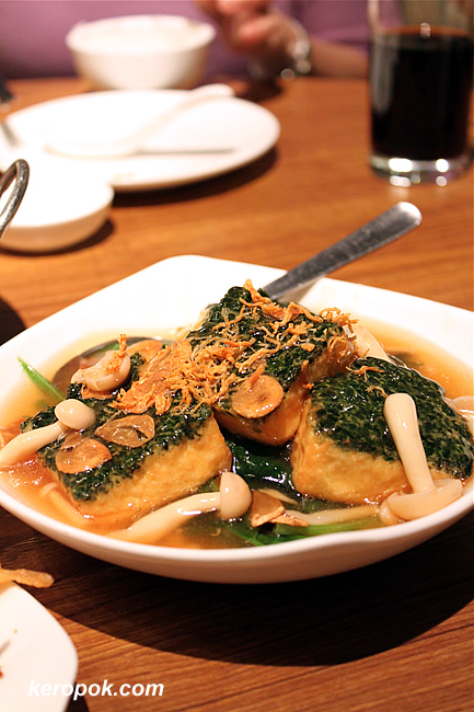 Braised Spinach Beancurd with Mushrooms and Vegetables