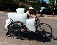 The Ice Man - Mawlamyine - Myanmar, Burma (meckleychina) Tags: travel ice bike bicycle asian asia southeastasia burma tricycle working iceman myanmar blocks block rickshaw burmese longyi mudflaps moulmein mawlamyaing mawlamyine miandian workingbicycle workingtricycle