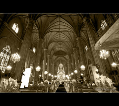 Gothic Church (gboy108(out for a while)) Tags: monochrome metal architecture buildings philippines gothic manila steelstructure sansebastianchurch nikond90 pinoykodakero malufet tokina1116mmf28 gboy108