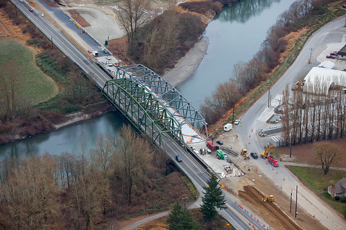 Aerial view of SR 539 Nooksack River Bridge