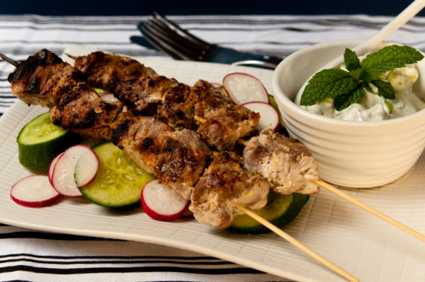 Lamb skewers with tzatziki