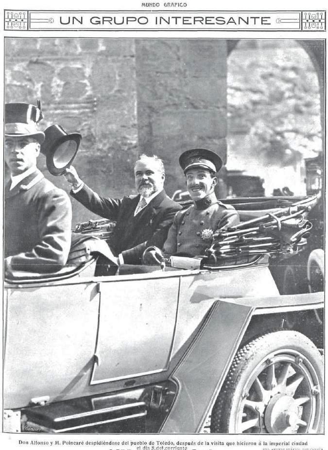 Raymond Poincaré y Alfonso XIII en Toledo en octubre de 1913 junto al Puente de Alcántara.Revista Mundo Gráfico
