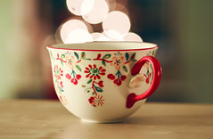 perfect cocoa (dothezonk) Tags: christmas flowers winter blur hot tree cup canon lights holidays pretty glow dof sweet bokeh background painted magic 100mm sparkle handpainted teacup cocoa comfort heritage2011