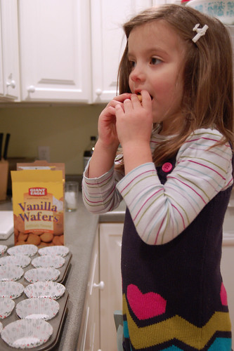 Sampling two vanilla wafers.