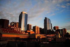 In Seattle (Andrew Imanaka) Tags: seattle street light sunset building architecture dark washington downtown power waterfront sidewalk
