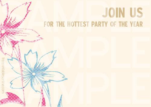 Free Printable Vintage Letterpress Floral Party Invitations