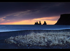 Vk  Mrdal (orvaratli) Tags: ocean travel winter sea black beach water grass landscape iceland sand wheat south atlantic vk icelandic reynisdrangar reynisfjall dyrhley vkmrdal arcticphoto rvaratli orvaratli