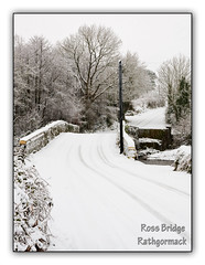 Snow falling on Ross bridge
