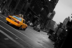 Taxi on Broadway (Manhattan) (Pingouino) Tags: street newyork yellow manhattan cab broadway leaning yellowtaxi nikond90 eve2009