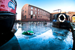 Frozen docks (purplemattfish) Tags: bridge ice canal geese barge zenitar16mmf28 upcoming:event=4961586