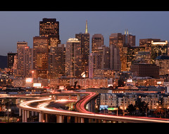 SF Nights (kaoni701) Tags: sf sanfrancisco city longexposure urban skyline night evening nikon highway downtown traffic dusk moma tokina freeway commute bayarea bluehour transamerica potrerohill 280 lighttrail 50135 d300s atx535prodx
