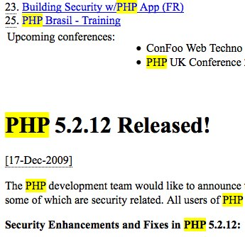 Highlighted PHP.Net