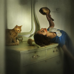 private moments (brookeshaden) Tags: cat vintage private mirror blood kitten moments olivia inspired fancy lipstick clemens balthus notaselfie brookeshaden texturebylesbrumes