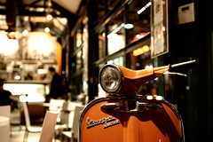 Vespa (Mike Chen aka Full Time Taekwondo Dad) Tags: orange cafe vespa santamonica bellagio 3rdst bellagiocafe mywinners abigfave vespasuper spiritofphotography bokehoftheday