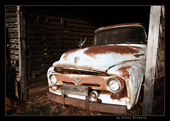 Home, sweet home (steverichard) Tags: auto old travel usa ford car barn rural truck ga georgia rust automobile framed rusty pickup roadtrip pickuptruck 1950s oxidation vehicle motor crusty v8 northgeorgia junker dented veryrusty murrayville steverichard