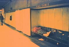 asleep (j. Verspeelt) Tags: sleeping canada film subway print lens 50mm gold xpro crossprocessed shot metro quebec kodak 5 crossprocess olympus bum plus 100 pushed expired 800 zuiko canoscan om1 monreal c41toe6 c41e6 8800f