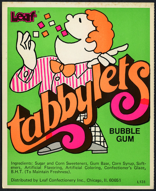 Candy Machine Vending Insert Card - Leaf Tabbylets bubble gum - 1970's